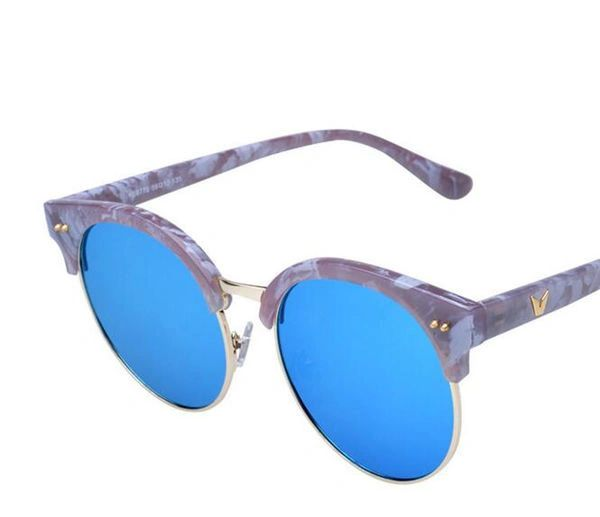 Chic Half Frame Round All Match Lenses Sunglasses
