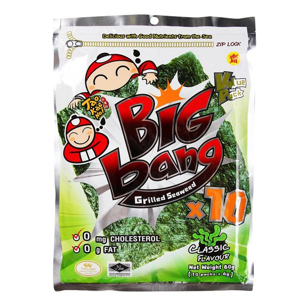 Tao Kae Noi Big Bang Classic Flavour Grilled Seaweed 10 x 6 g