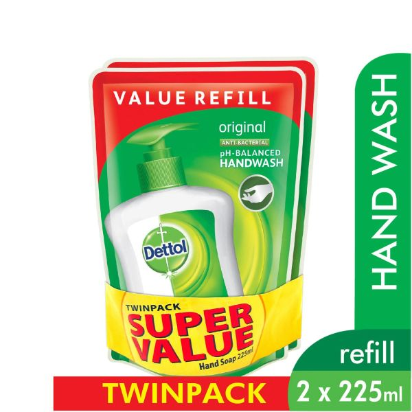 Dettol Original Anti-Bacterial Hand Wash Refill Twinpack 2 x 225 ml