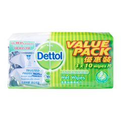 Dettol Anti-Bacterial Wet Wipes Value Pack 3 x 10 per pack