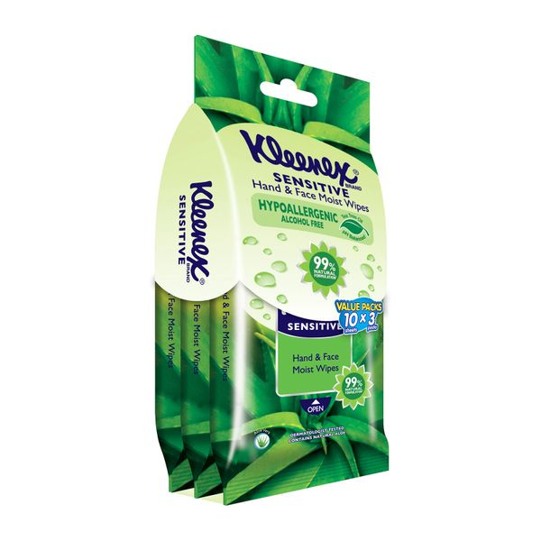 Kleenex Wipes Hand/Face Moist Aloe 3 x 10 per pack
