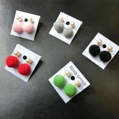 Pearl Lint Ball Short Earrings