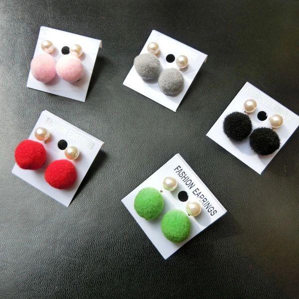 Pearl Lint Ball Short Earrings