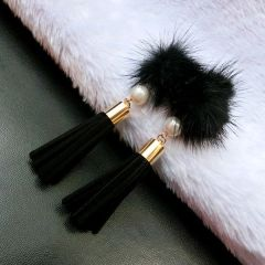 Elegant Fringe Pearl Lint Ball Earrings