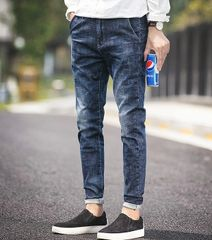Korean Style Fitted Water Wash Men Cone Jeans