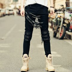 Autumn Wore Out Tassel Pu Patchwork Black Jeans