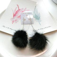 Fashion Lint Ball Metal Chain Pendant Earrings