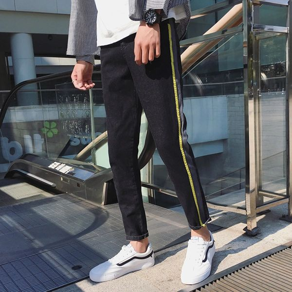 Casual Contrast Color Mid Waist Long Trouser