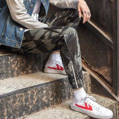 Casual Camouflage Drawstring Fitted Men Ninth Pant