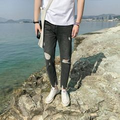 Stylish Hole Fitted Personality Men Ninth Jeans