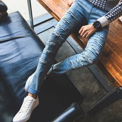 Hot Selling Wore Out Skinny Fitted Long Jeans