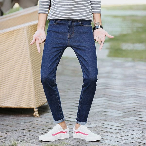Fashion Solid Simple Design Skinny Blue Jeans