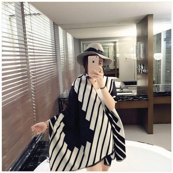Korean New Stripe Fashion Celebrity Shawl