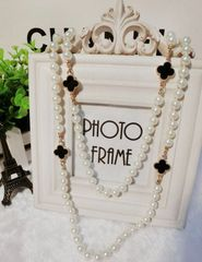 Trendy Four Leaf Clover Pearls Decor Women Sweater Hanging Necklace