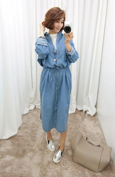Korean Style Drawstring Waist Side Slit Trendy Long Shirt Single-breasted Buttoned Womens Shirt