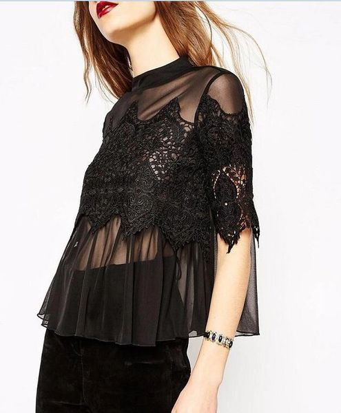 Euro Hollow Out Lace Patchwork Woman Blouse