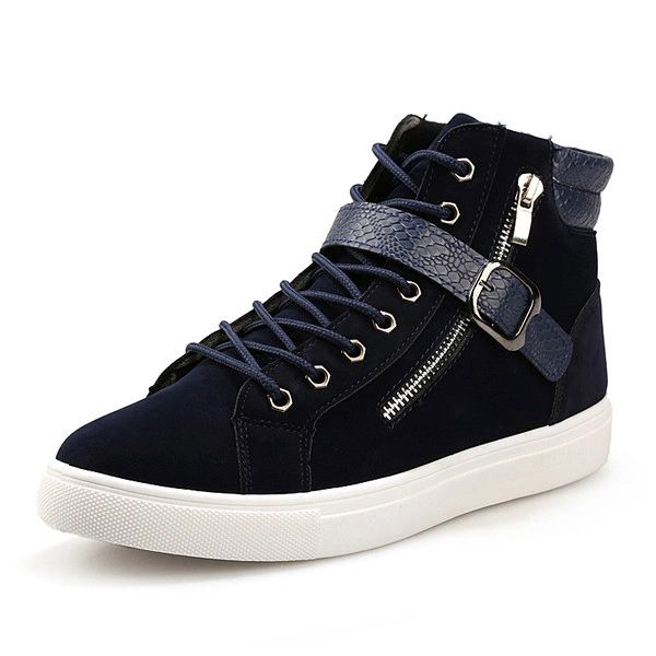 Zipper Decor Lace Up Men High Tops Sneakers