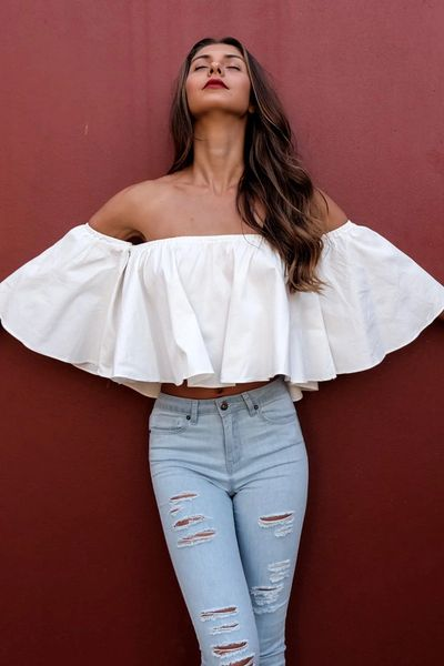 Sexy Off Shoulder Woman White Blouse