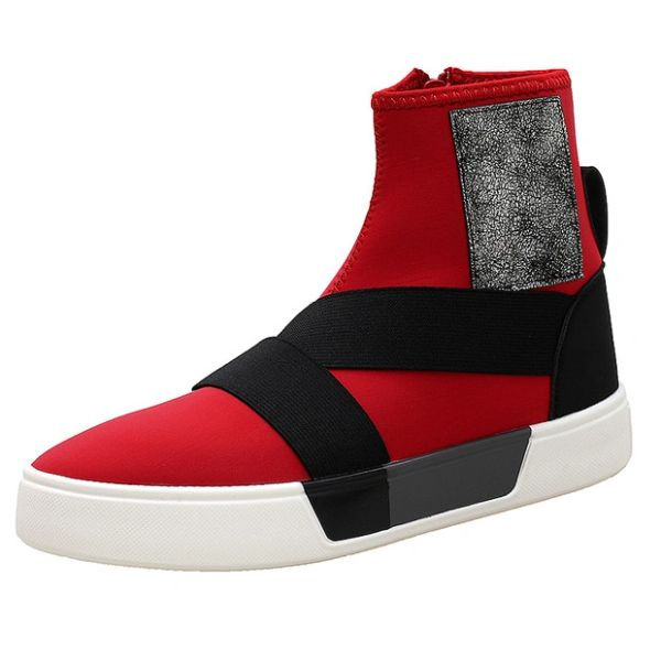Chic Round Toe Zipper Men High Tops Booties