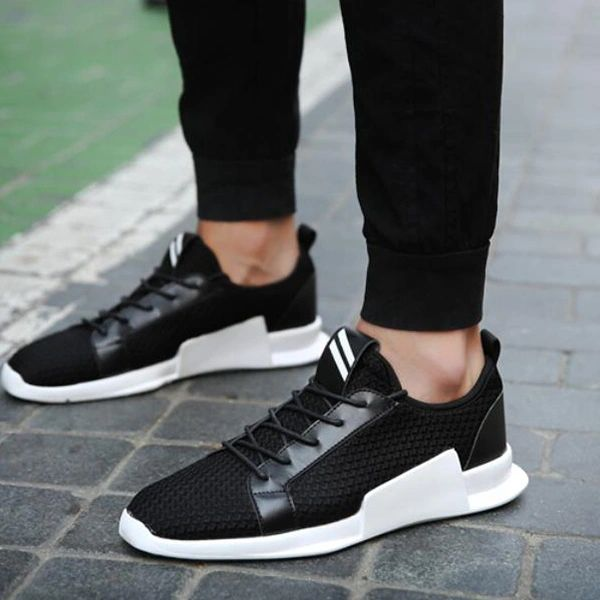 Chic Weave Lace Up Men Skate Shoes