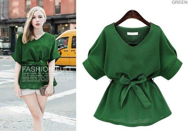 V-Neck Raglan Sleeve Fashion Blouse