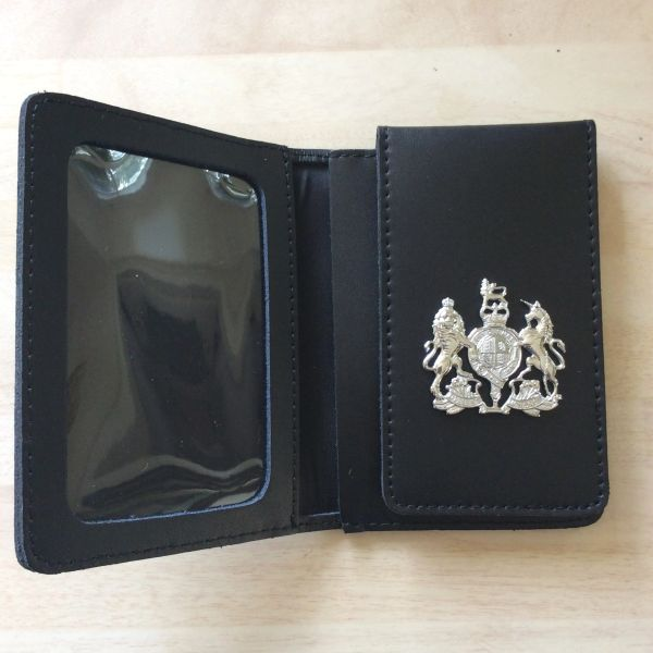 ID card wallet with attached coat of arms crest