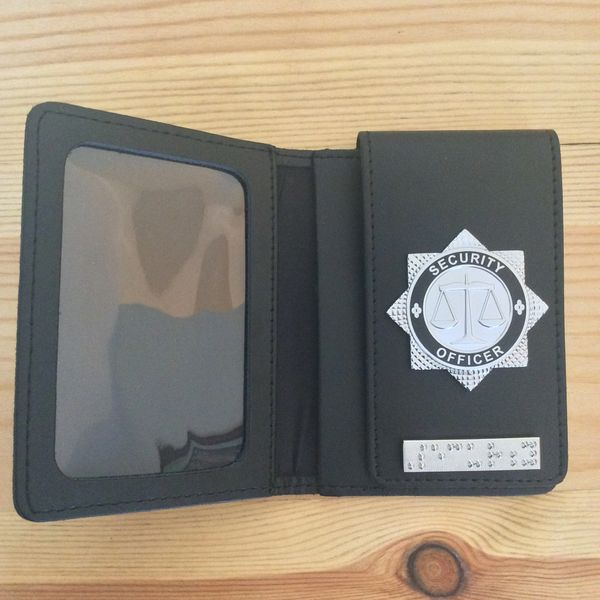 Security Officer ID card wallet with Security braille bar