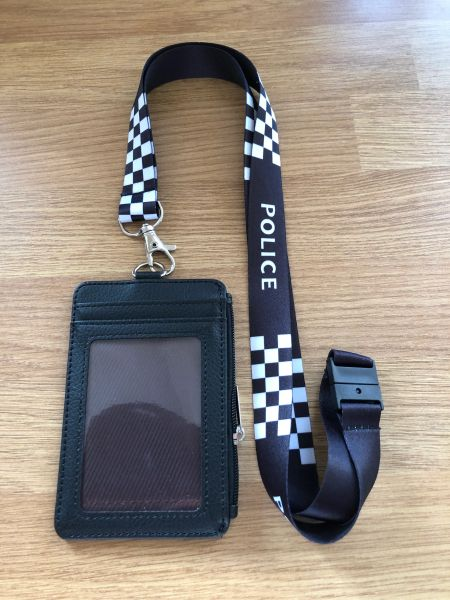 Police (unbadged) warrant card holder & printed lanyard