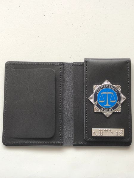 Enforcement Agent ID card wallet with braille bar