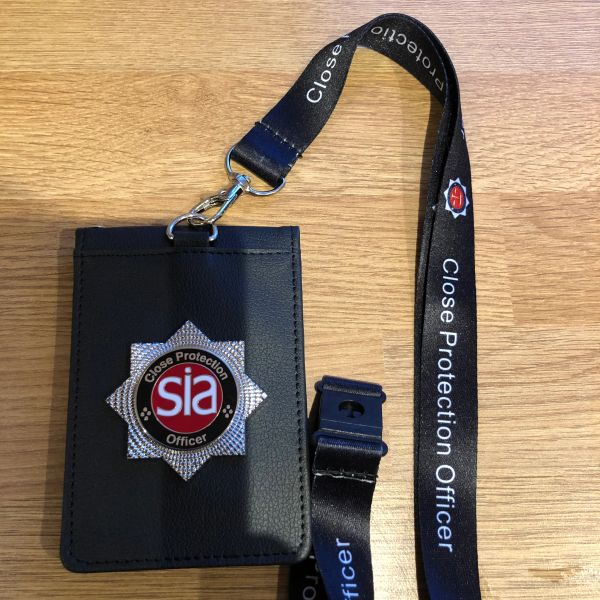 SIA Close Protection Officer ID card holder & printed lanyard
