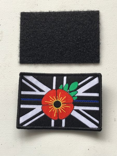 Thin Blue Line poppy / remembrance patch.