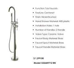 Tub Filler Floor Mounted Brushed Nickel