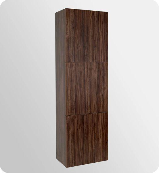 Bathroom Linen Side Cabinet w/ 3 Large Storage Areas WALNUT