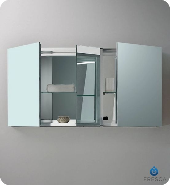 "Wide Bathroom Medicine Cabinet w/ Mirrors 50"""