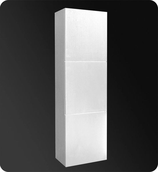 Bathroom Linen Side Cabinet w/ 3 Large Storage Areas White