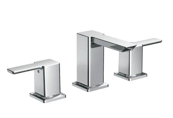 90 Degree Chrome Two-Handle Low Arc Bathroom LAV. Faucet & VALVE