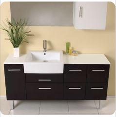 Fresca Serio Espresso Modern Bathroom Vanity w/ Mirror & Side Cabinet
