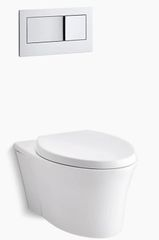 """Veil® one-piece elongated dual-flush wall-hung toilet with Reveal® Quiet-Close™ seat and 2""""x6"""" in-wall tank and carrier system"""