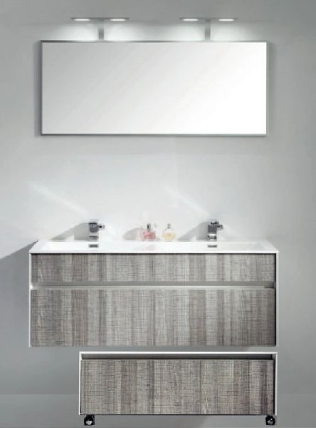 "Siena 47"" Double Sink Modern Bathroom Vanity with Mirror and Faucets in High Gloss Ash Gray"