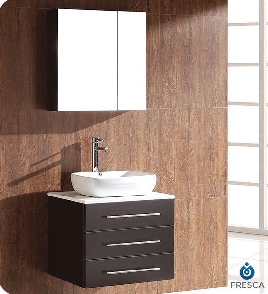 Fresca Modella Espresso Modern Bathroom Vanity w/ Medicine Cabinet 24''