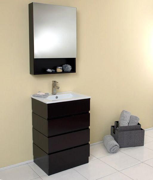 Fresca Amato Espresso Modern Bathroom Vanity w/ Medicine Cabinet 24''