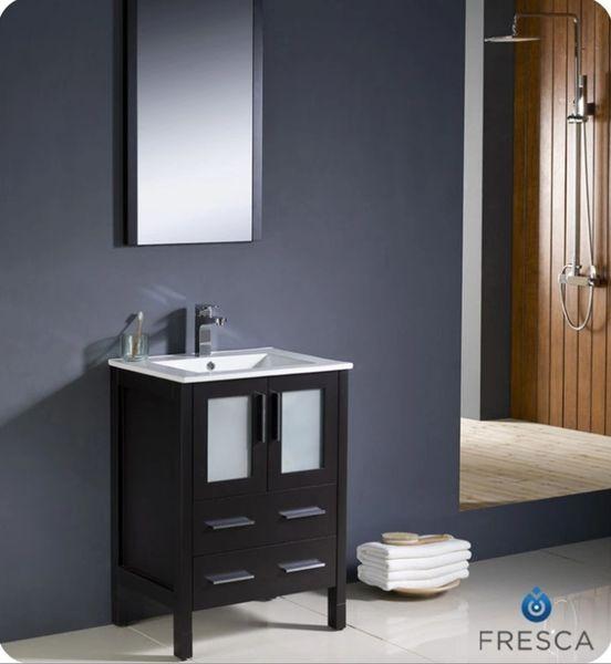 "Fresca Torino 24"" Espresso Modern Bathroom Vanity w/ Integrated Sink"
