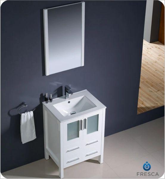 "Fresca Torino 24"" White Modern Bathroom Vanity w/ Integrated Sink"