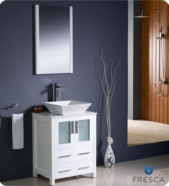 "Fresca Torino 24"" White Modern Bathroom Vanity w/ Vessel Sink"