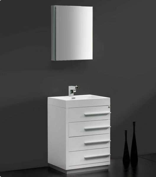 "Fresca Livello 24"" White Modern Bathroom Vanity w/ Medicine Cabinet"
