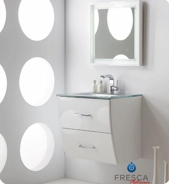 "Fresca Platinum Wave 24"" Glossy White Modern Bathroom Vanity"