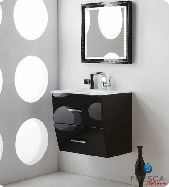 "Fresca Platinum Wave 24"" Glossy Black Modern Bathroom Vanity"