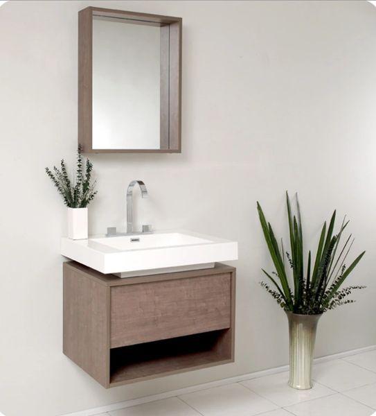 Fresca Potenza Gray Oak Modern Bathroom Vanity w/ Pop Open Drawer