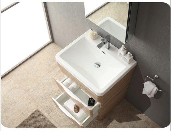 "Fresca Milano 26"" White Oak Modern Bathroom Vanity w/ Medicine Cabinet"
