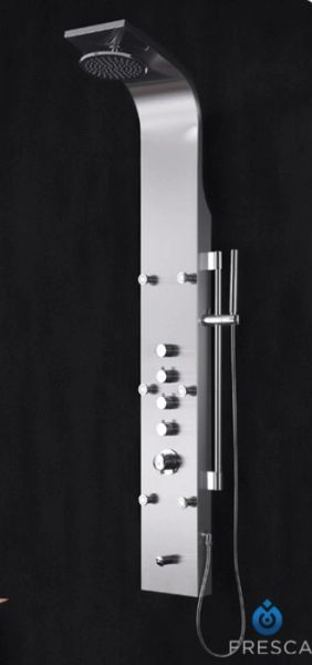 Palermo Stainless Steel Thermostatic Shower Massage Panel in Brushed Silver